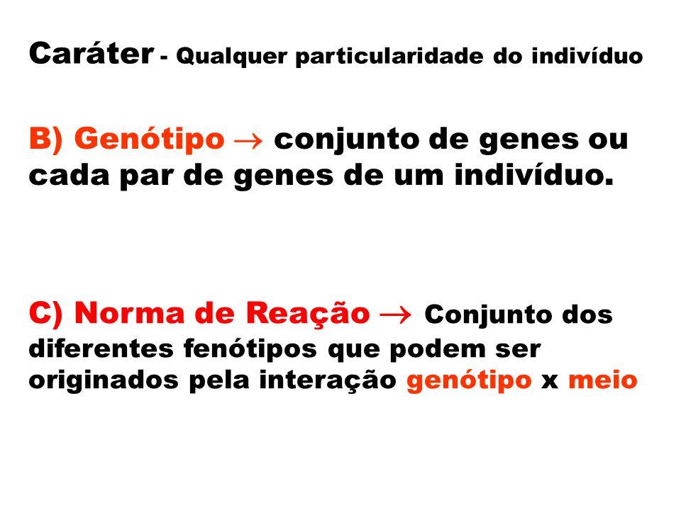 Caráter - Qualquer particularidade do indivíduo B) Genótipo  conjunto de genes ou cada par de genes de um indivíduo. C) Norma de Reação  Conjunto do