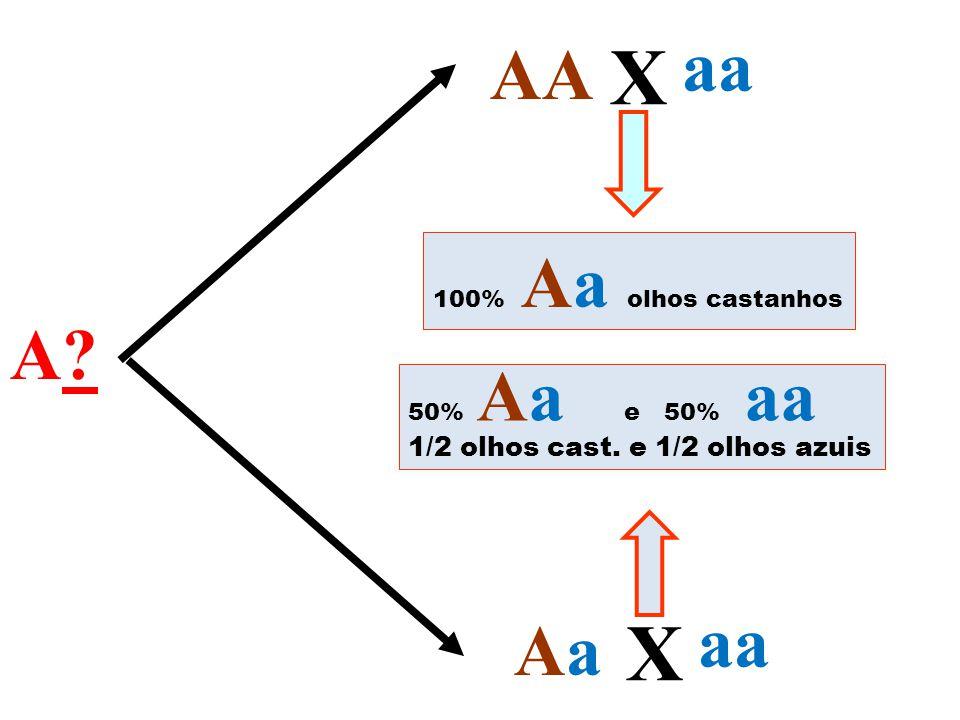 A?A? AA AaAa X aa X 100% Aa olhos castanhos 50% Aa e 50% aa 1/2 olhos cast. e 1/2 olhos azuis