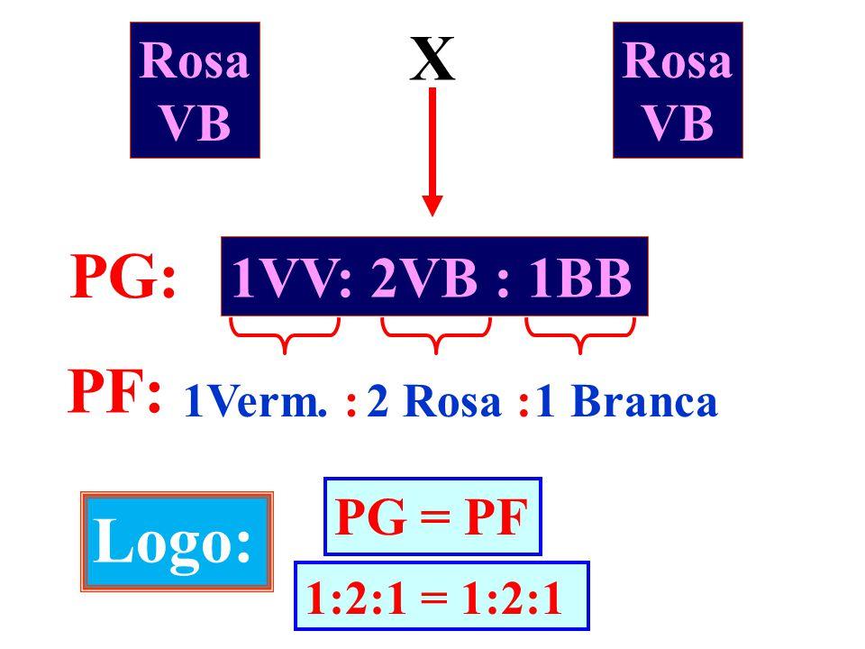Rosa VB X Rosa VB 1VV: 2VB : 1BB PG: PF: 1Verm. :2 Rosa :1 Branca Logo: PG = PF 1:2:1 = 1:2:1