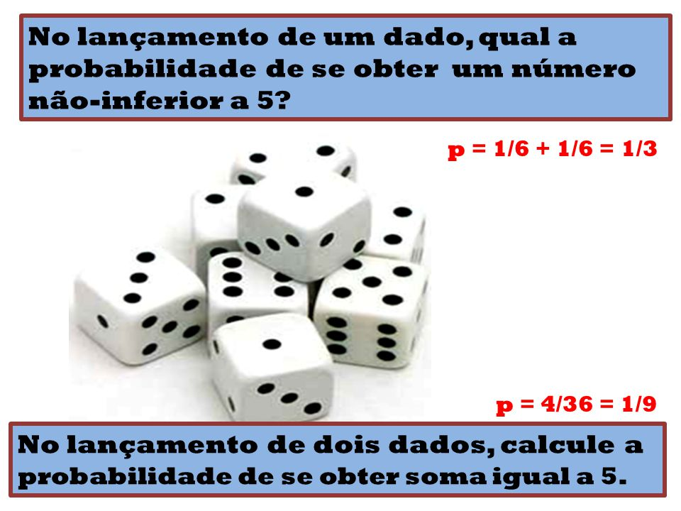 No lançamento de um dado, qual a probabilidade de se obter um número não-inferior a 5? p = 1/6 + 1/6 = 1/3 No lançamento de dois dados, calcule a prob