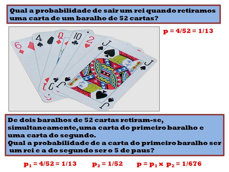 Qual a probabilidade de sair um rei quando retiramos uma carta de um baralho de 52 cartas? p = 4/52 = 1/13 De dois baralhos de 52 cartas retiram-se, s