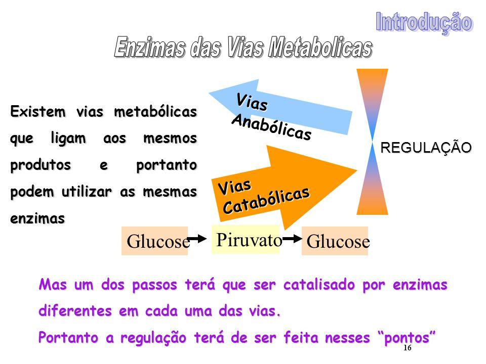 16 Vias Anabólicas Vias Catabólicas REGULAÇÃO Existem vias metabólicas que ligam aos mesmos produtos e portanto podem utilizar as mesmas enzimas Gluco