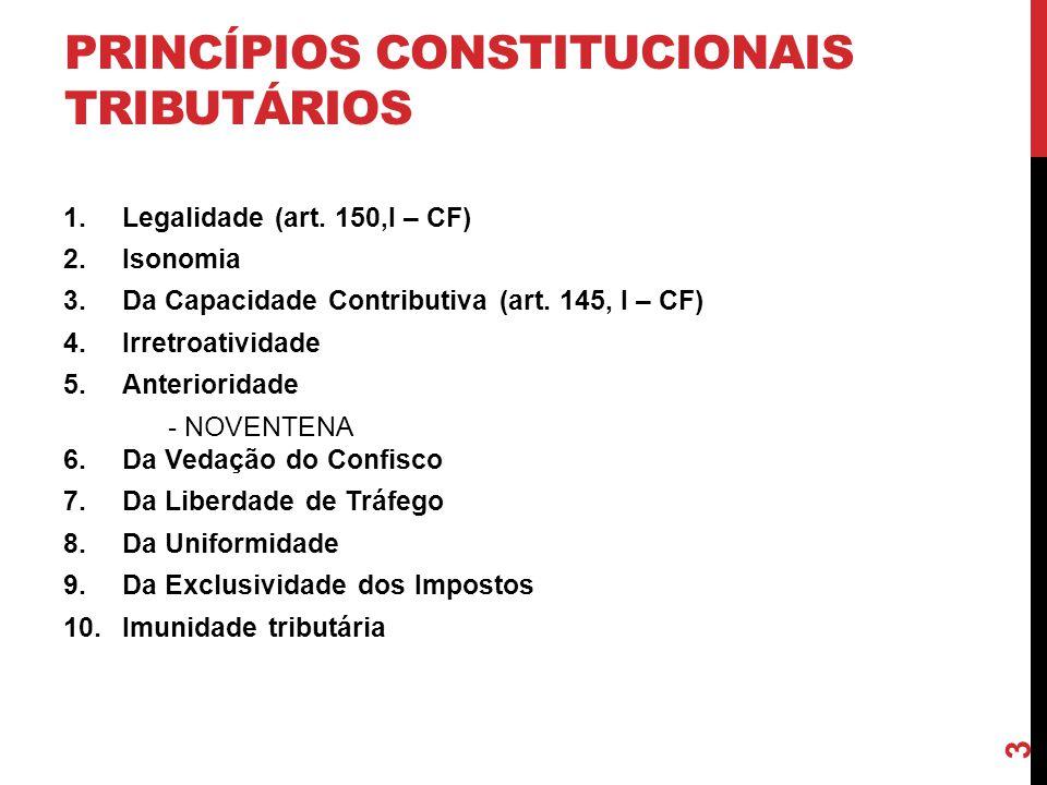 3 PRINCÍPIOS CONSTITUCIONAIS TRIBUTÁRIOS 1.Legalidade (art. 150,I – CF) 2.Isonomia 3.Da Capacidade Contributiva (art. 145, I – CF) 4.Irretroatividade