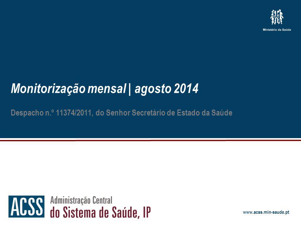Monitorização mensal | agosto 2014 12 Atividade assistencial Notas metodológicas