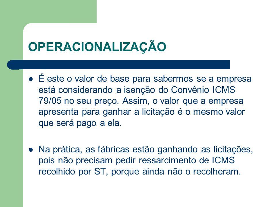 OPERACIONALIZAÇÃO É este o valor de base para sabermos se a empresa está considerando a isenção do Convênio ICMS 79/05 no seu preço.