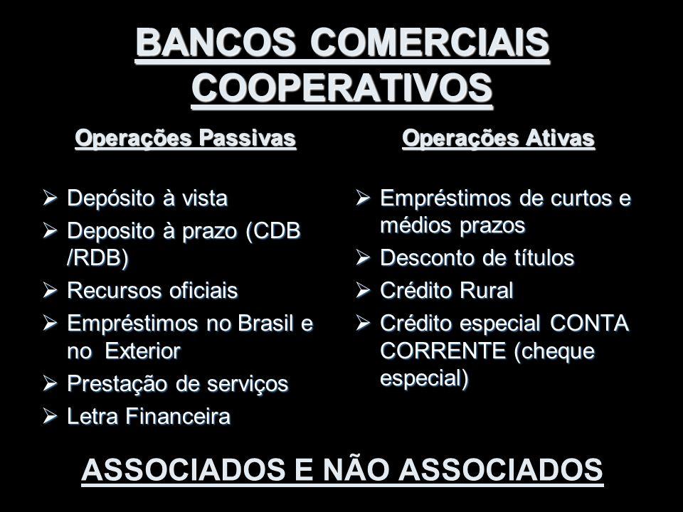 BANCOS COMERCIAIS COOPERATIVOS Operações Passivas  Depósito à vista  Deposito à prazo (CDB /RDB)  Recursos oficiais  Empréstimos no Brasil e no Ex