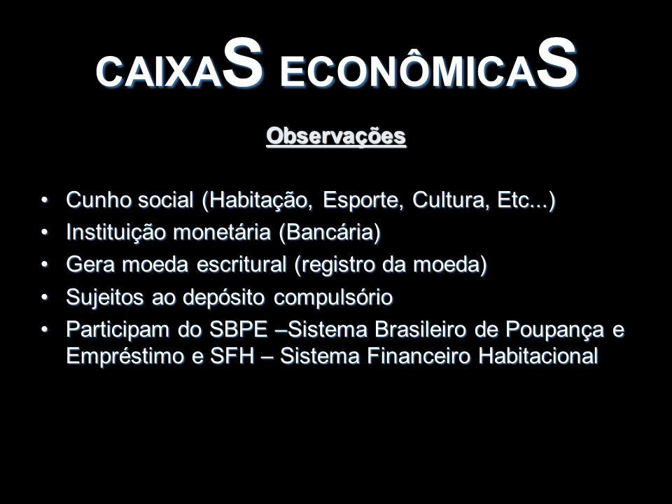Observações Cunho social (Habitação, Esporte, Cultura, Etc...)Cunho social (Habitação, Esporte, Cultura, Etc...) Instituição monetária (Bancária)Insti