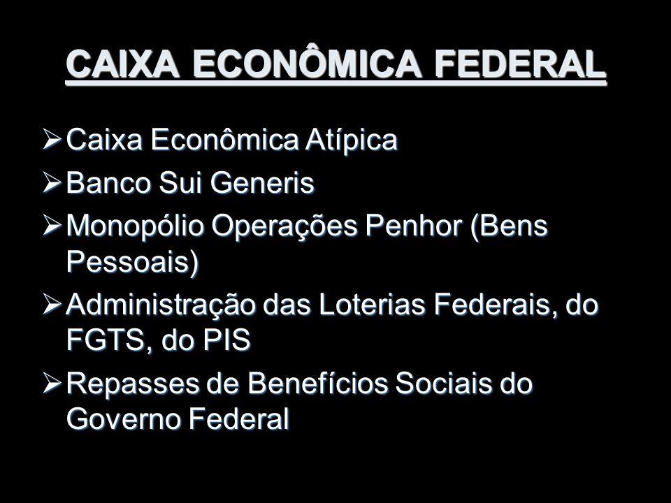 CAIXA ECONÔMICA FEDERAL  Caixa Econômica Atípica  Banco Sui Generis  Monopólio Operações Penhor (Bens Pessoais)  Administração das Loterias Federa
