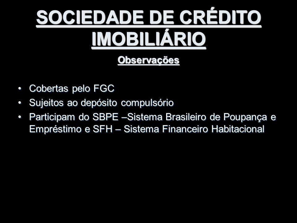 SOCIEDADE DE CRÉDITO IMOBILIÁRIO Observações Cobertas pelo FGCCobertas pelo FGC Sujeitos ao depósito compulsórioSujeitos ao depósito compulsório Parti