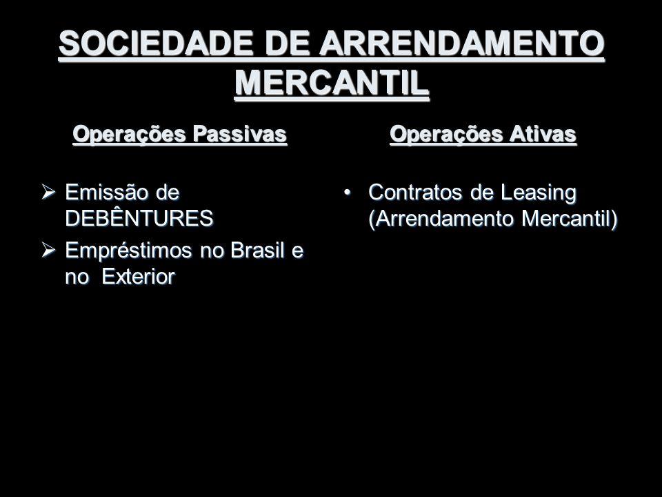 SOCIEDADE DE ARRENDAMENTO MERCANTIL Operações Passivas  Emissão de DEBÊNTURES  Empréstimos no Brasil e no Exterior Operações Ativas Contratos de Lea