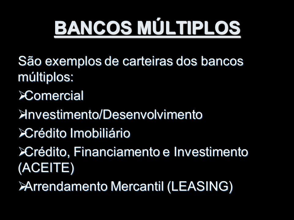 BANCOS MÚLTIPLOS São exemplos de carteiras dos bancos múltiplos:  Comercial  Investimento/Desenvolvimento  Crédito Imobiliário  Crédito, Financiam