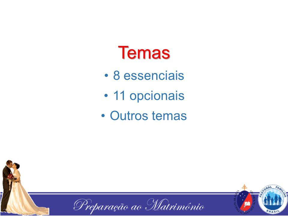 Temas 8 essenciais 11 opcionais Outros temas