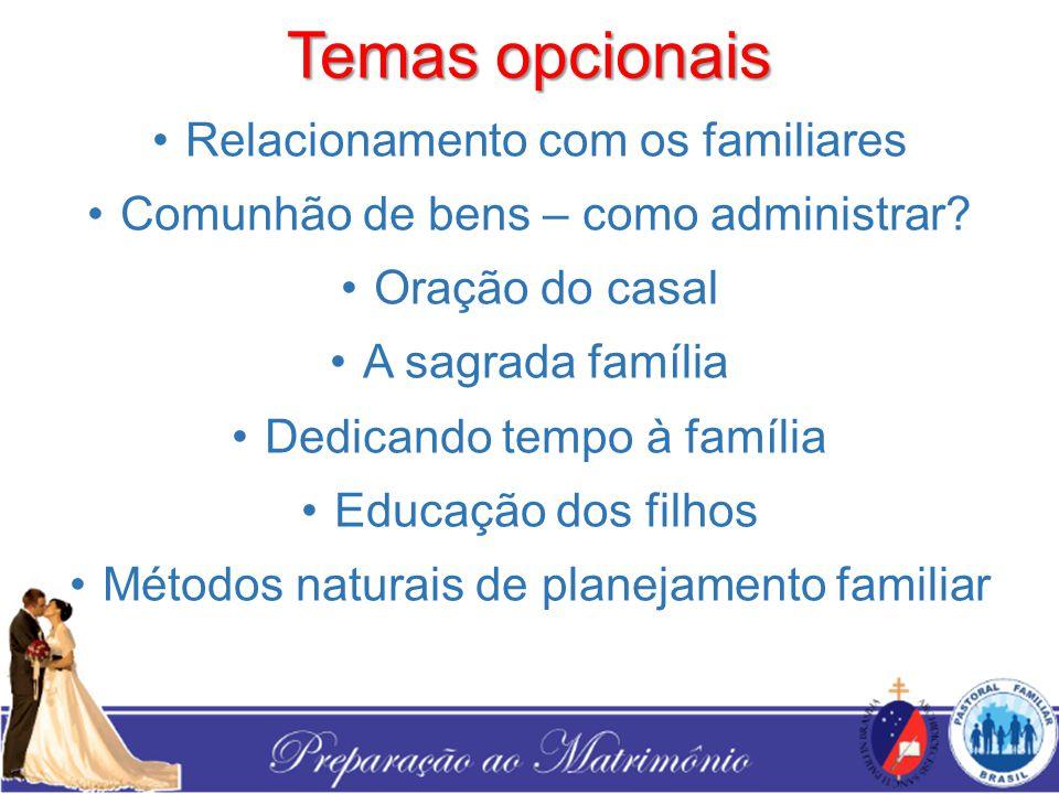 Temas opcionais Relacionamento com os familiares Comunhão de bens – como administrar? Oração do casal A sagrada família Dedicando tempo à família Educ