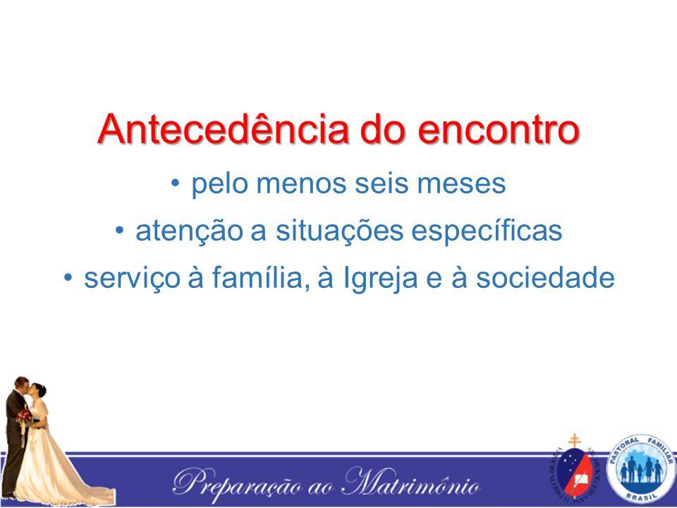 Antecedência do encontro pelo menos seis meses atenção a situações específicas serviço à família, à Igreja e à sociedade