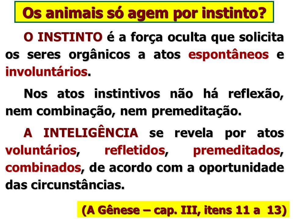 Sujeitos ao Determinismo Divino (LE – Questão 599) Os animais progridem pela força das coisas; e é por isso que, para eles, não existe expiação. Os an