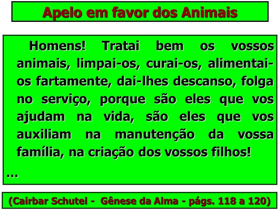 Apelo em favor dos Animais Sede bons para com os vosso irmãos inferiores, como desejais que o Pai celestial vos cerque de carinho e de amor! Sede bons