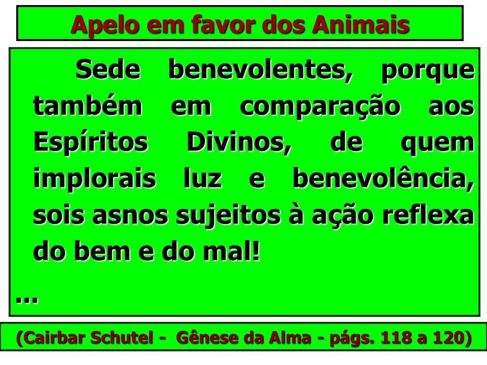 Apelo em favor dos Animais Lembrai-vos que os animais são seres vivos, que sentem, que se cansam, que têm força limitada, e finalmente, que pensam, e
