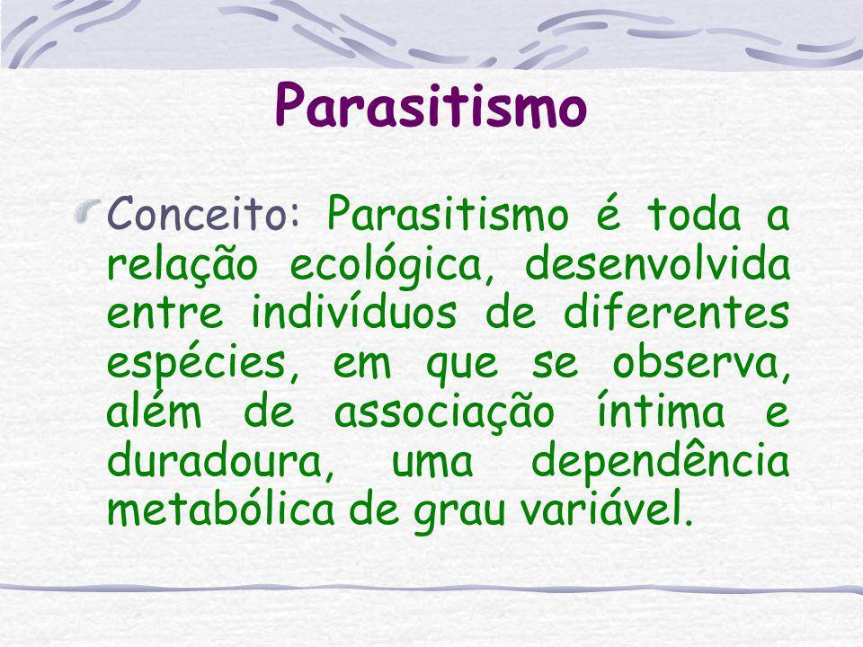 Parasitismo Conceito: Parasitismo é toda a relação ecológica, desenvolvida entre indivíduos de diferentes espécies, em que se observa, além de associação íntima e duradoura, uma dependência metabólica de grau variável.