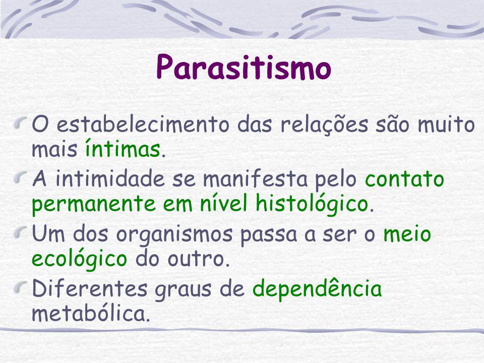 Parasitismo Conceito: Parasitismo é toda a relação ecológica, desenvolvida entre indivíduos de diferentes espécies, em que se observa, além de associa