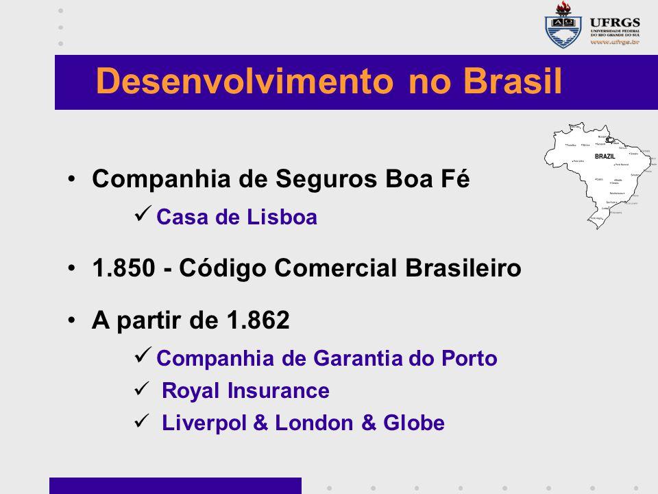 Desenvolvimento no Brasil Companhia de Seguros Boa Fé Casa de Lisboa 1.850 - Código Comercial Brasileiro A partir de 1.862 Companhia de Garantia do Porto Royal Insurance Liverpol & London & Globe
