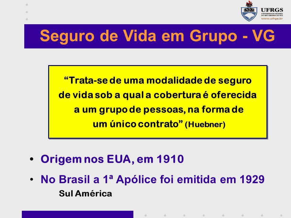 Seguro de Vida em Grupo - VG Origem nos EUA, em 1910 No Brasil a 1ª Apólice foi emitida em 1929 Sul América Trata-se de uma modalidade de seguro de vida sob a qual a cobertura é oferecida a um grupo de pessoas, na forma de um único contrato (Huebner) Trata-se de uma modalidade de seguro de vida sob a qual a cobertura é oferecida a um grupo de pessoas, na forma de um único contrato (Huebner)