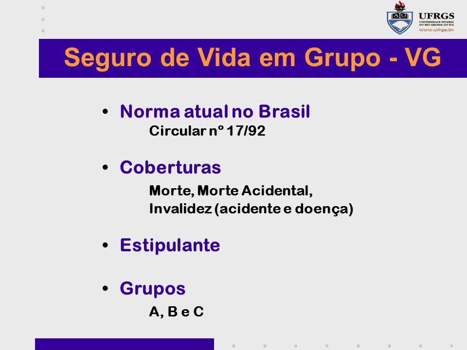 Seguro de Vida em Grupo - VG Norma atual no Brasil Circular nº 17/92 Coberturas Morte, Morte Acidental, Invalidez (acidente e doença) Estipulante Grupos A, B e C