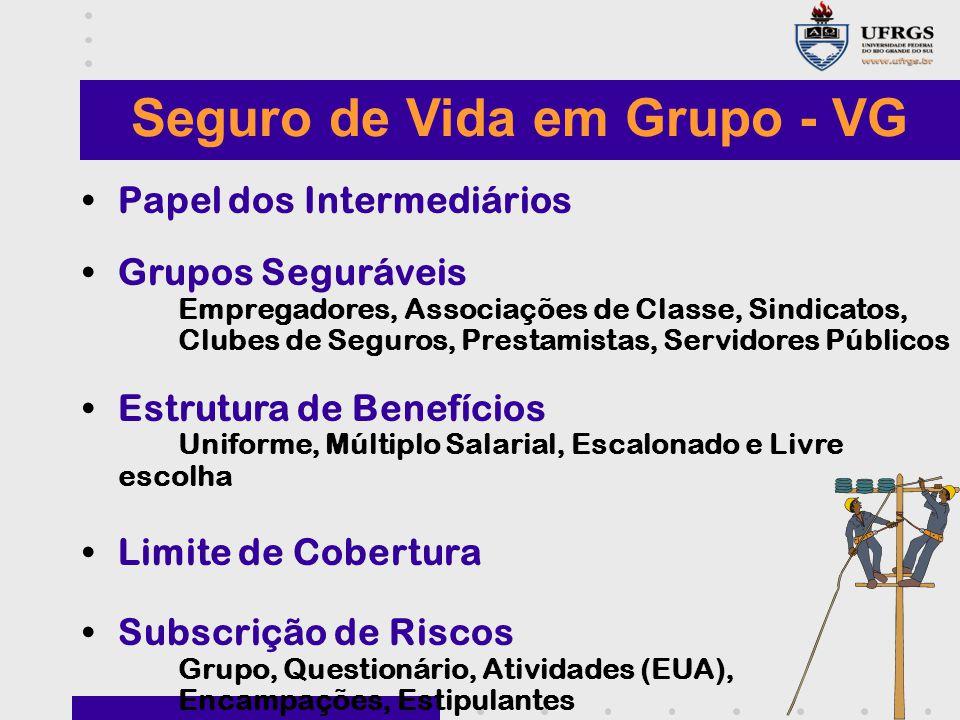 Seguro de Vida em Grupo - VG Papel dos Intermediários Grupos Seguráveis Empregadores, Associações de Classe, Sindicatos, Clubes de Seguros, Prestamist