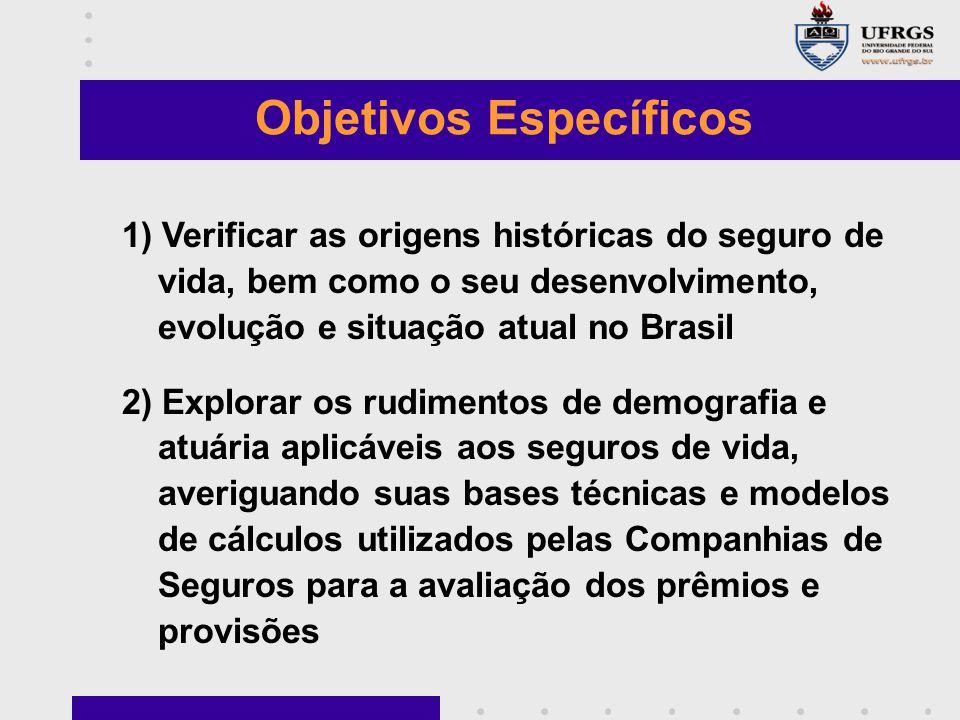 1) Verificar as origens históricas do seguro de vida, bem como o seu desenvolvimento, evolução e situação atual no Brasil 2) Explorar os rudimentos de
