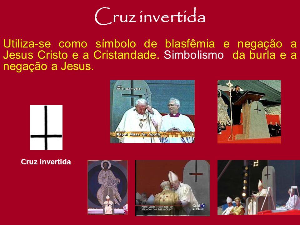 """Cruz Deformada O Crucifixo Satânico, é o símbolo máximo do Anticristo. Criado pelos satanistas no século VI. Este, mostra um aspecto de """"Jesus Cristo"""""""