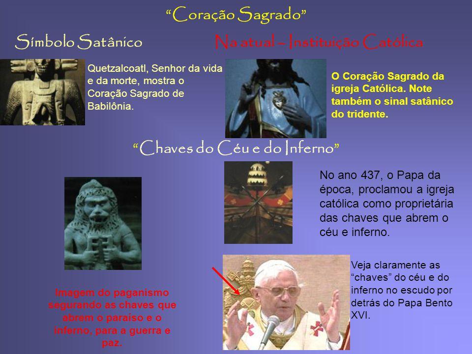 """Símbolo SatânicoNa atual – Instituição Católica Pinha """"cone de Pinheiro"""" 2. Ele mostranos um deus do México, que representam a reencarnação e o sol."""
