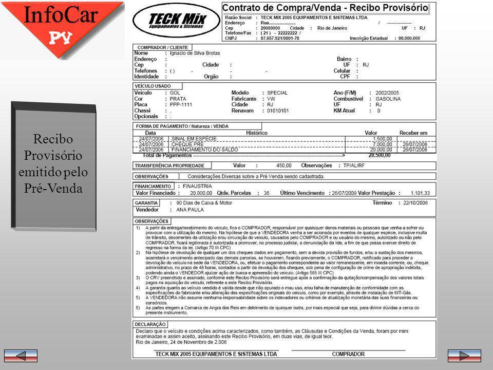 Importação da Pré Venda pelo InfoCar Informações digitadas na importação da Pré Venda