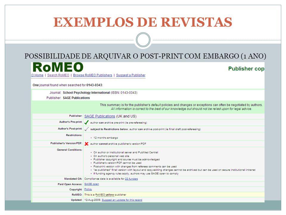 EXEMPLOS DE REVISTAS POSSIBILIDADE DE ARQUIVAR O POST-PRINT COM EMBARGO (1 ANO)