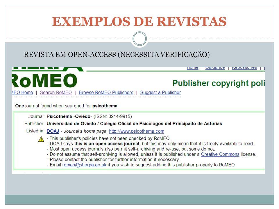 EXEMPLOS DE REVISTAS REVISTA EM OPEN-ACCESS (NECESSITA VERIFICAÇÃO)
