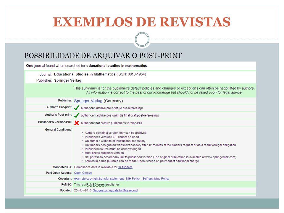 EXEMPLOS DE REVISTAS POSSIBILIDADE DE ARQUIVAR O POST-PRINT