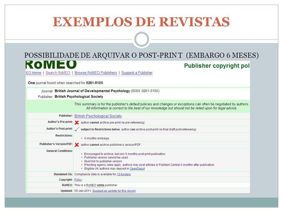 EXEMPLOS DE REVISTAS POSSIBILIDADE DE ARQUIVAR O POST-PRIN T (EMBARGO 6 MESES)