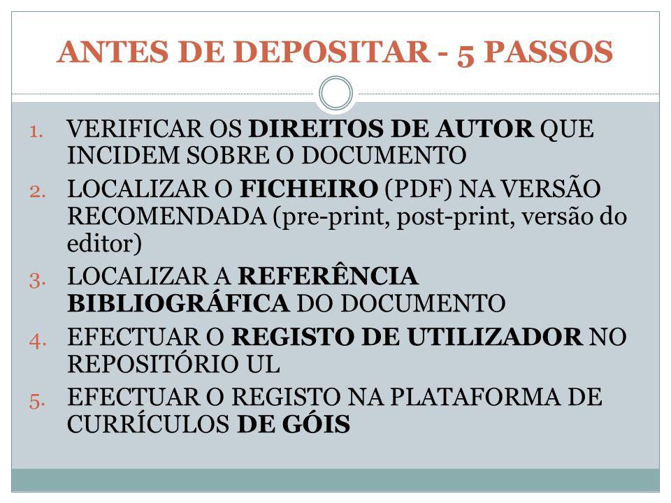 ANTES DE DEPOSITAR - 5 PASSOS 1. VERIFICAR OS DIREITOS DE AUTOR QUE INCIDEM SOBRE O DOCUMENTO 2. LOCALIZAR O FICHEIRO (PDF) NA VERSÃO RECOMENDADA (pre