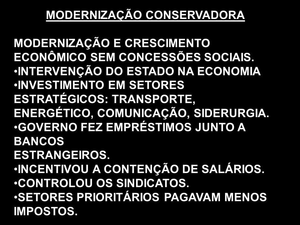 MODERNIZAÇÃO CONSERVADORA MODERNIZAÇÃO E CRESCIMENTO ECONÔMICO SEM CONCESSÕES SOCIAIS. INTERVENÇÃO DO ESTADO NA ECONOMIA INVESTIMENTO EM SETORES ESTRA