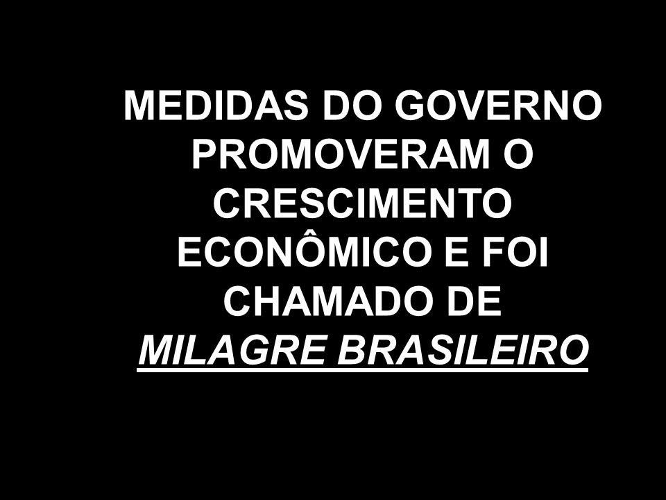 MEDIDAS DO GOVERNO PROMOVERAM O CRESCIMENTO ECONÔMICO E FOI CHAMADO DE MILAGRE BRASILEIRO