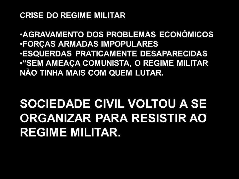 """CRISE DO REGIME MILITAR AGRAVAMENTO DOS PROBLEMAS ECONÔMICOS FORÇAS ARMADAS IMPOPULARES ESQUERDAS PRATICAMENTE DESAPARECIDAS """"SEM AMEAÇA COMUNISTA, O"""