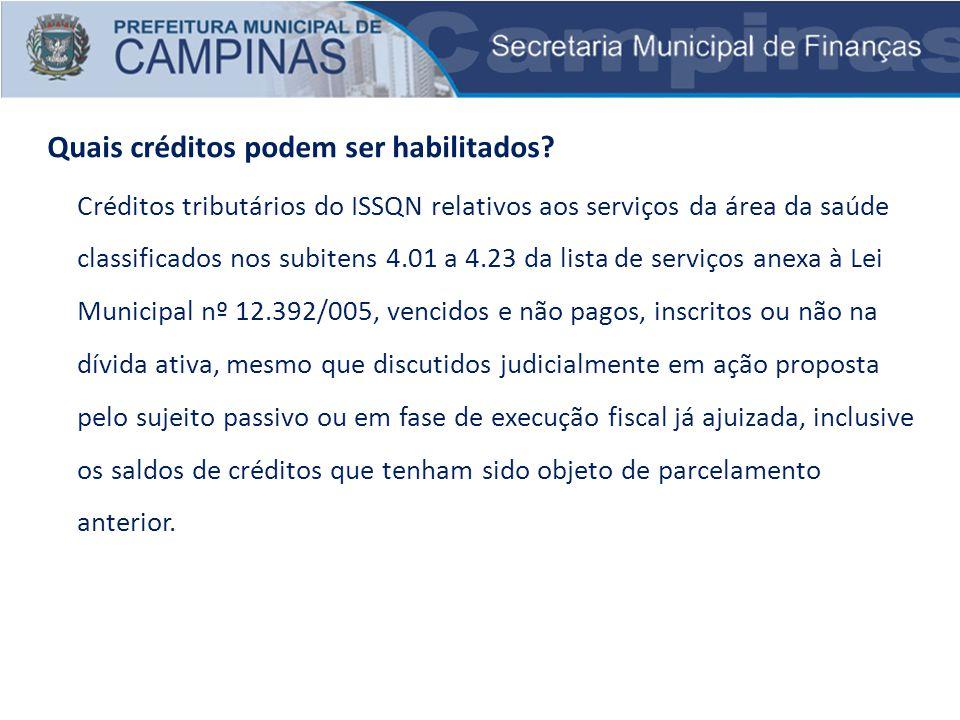 Créditos tributários do ISSQN relativos aos serviços da área da saúde classificados nos subitens 4.01 a 4.23 da lista de serviços anexa à Lei Municipa