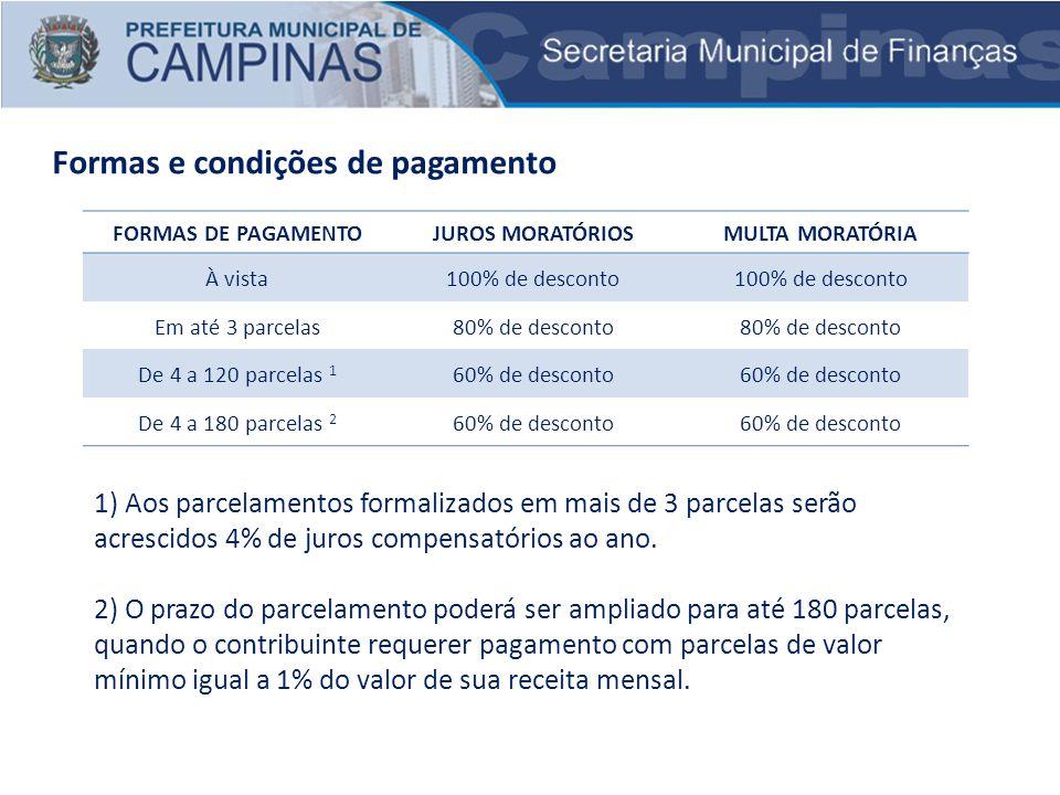 Formas e condições de pagamento 1) Aos parcelamentos formalizados em mais de 3 parcelas serão acrescidos 4% de juros compensatórios ao ano. 2) O prazo