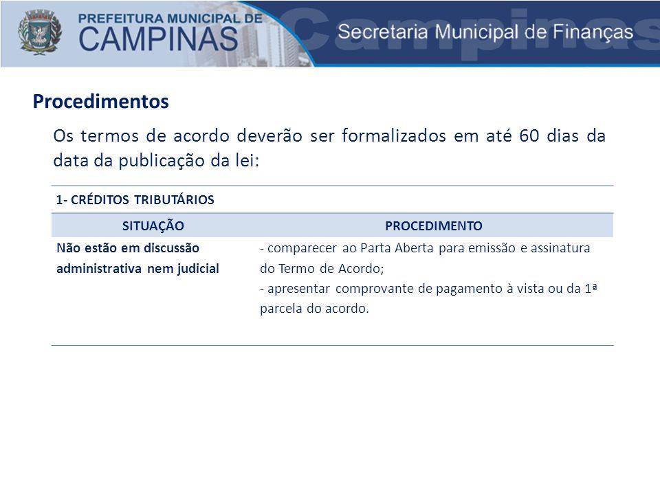 Procedimentos Os termos de acordo deverão ser formalizados em até 60 dias da data da publicação da lei: 1- CRÉDITOS TRIBUTÁRIOS SITUAÇÃOPROCEDIMENTO N