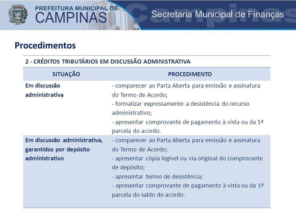Procedimentos 2 - CRÉDITOS TRIBUTÁRIOS EM DISCUSSÃO ADMINISTRATIVA SITUAÇÃOPROCEDIMENTO Em discussão administrativa - comparecer ao Parta Aberta para
