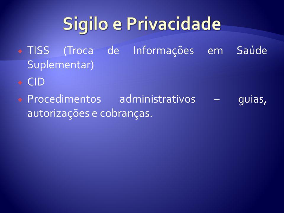  TISS (Troca de Informações em Saúde Suplementar)  CID  Procedimentos administrativos – guias, autorizações e cobranças.