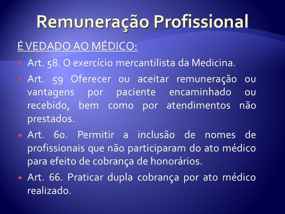 É VEDADO AO MÉDICO:  Art. 58. O exercício mercantilista da Medicina.