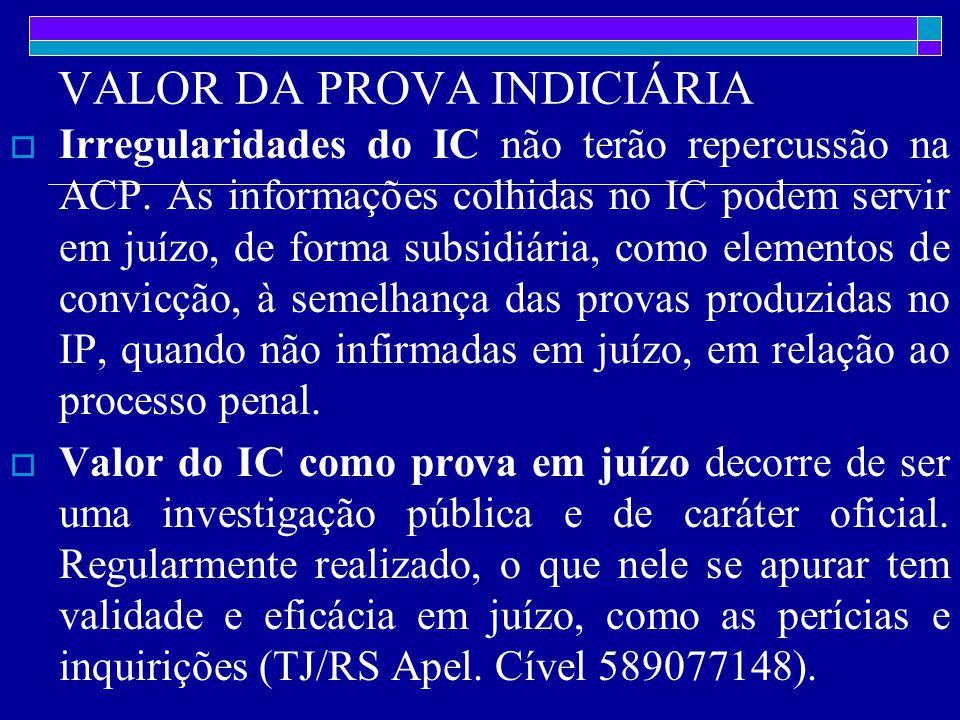VALOR DA PROVA INDICIÁRIA  Irregularidades do IC não terão repercussão na ACP.