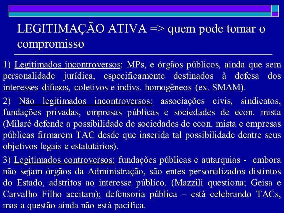 LEGITIMAÇÃO ATIVA => quem pode tomar o compromisso 1) Legitimados incontroversos: MPs, e órgãos públicos, ainda que sem personalidade jurídica, especificamente destinados à defesa dos interesses difusos, coletivos e indivs.