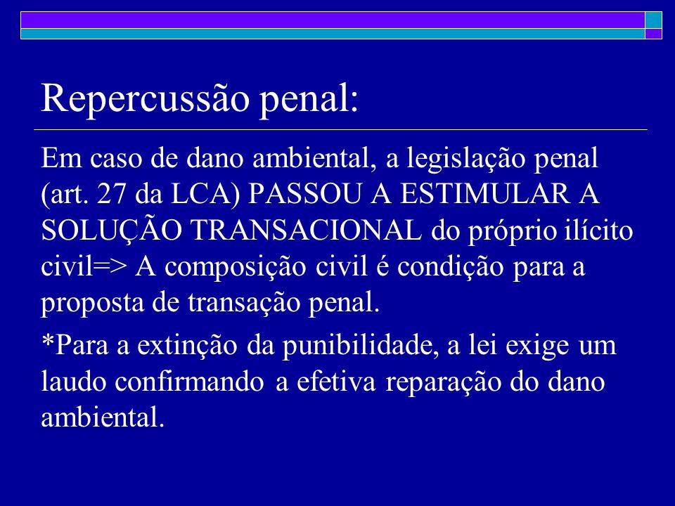 Repercussão penal: Em caso de dano ambiental, a legislação penal (art.