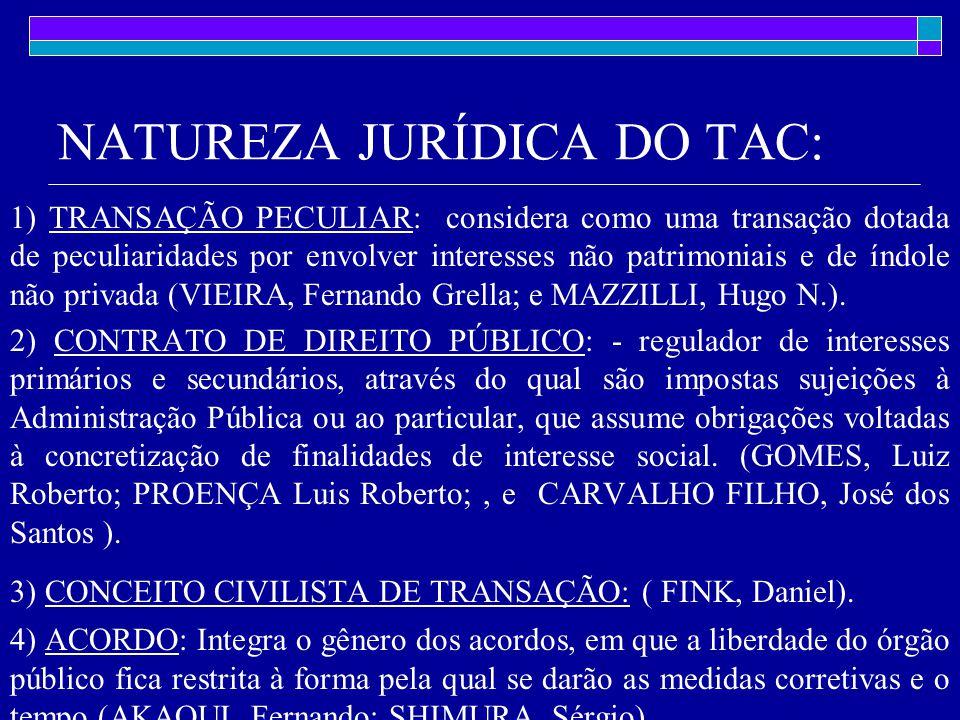 NATUREZA JURÍDICA DO TAC: 1) TRANSAÇÃO PECULIAR: considera como uma transação dotada de peculiaridades por envolver interesses não patrimoniais e de índole não privada (VIEIRA, Fernando Grella; e MAZZILLI, Hugo N.).