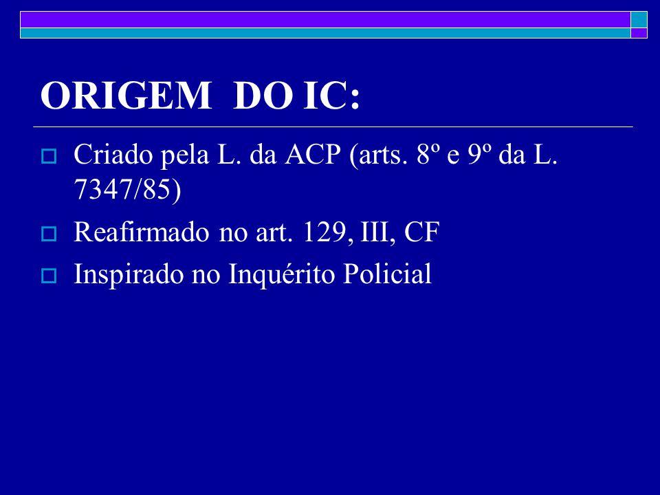 ORIGEM DO IC:  Criado pela L.da ACP (arts. 8º e 9º da L.